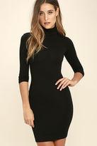 LuLu*s High Hopes Black Long Sleeve Bodycon Dress