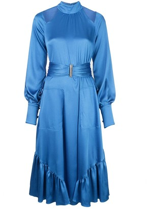 Alexis Calypsa blouson-sleeved satin dress