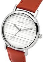 Karen Millen Women's Quartz Watch with White Dial Analogue Display and Red Leather Strap KM154R