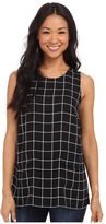 Vince Camuto Simple Windowpane Front Pocket Blouse