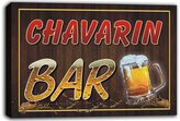 AdvPro Canvas scw3-015725 CHAVARIN Name Home Bar Beer Mugs Stretched Canvas Print Sign