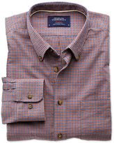 Slim Fit Blue And Orange Check Tweed Look Cotton Shirt Single Cuff Size Medium By Charles Tyrwhitt