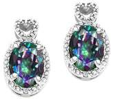 Tommaso design Studio Tommaso Design Oval 7x5mm Mystic Rainbow Topaz and Diamond Earrings 14k
