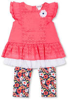 Little Lass Baby Girls Two-Piece Laser Cutout Top and Floral Capri Set