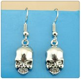 Nobrand No brand Simple Vintage Antique Silver Color 18*10mm Skull Charm Drop Earring, Dangle Earrings