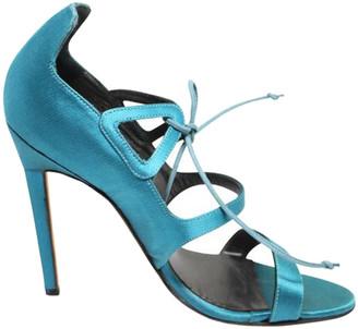 Manolo Blahnik Turquoise Satin Sandals Size 37.5