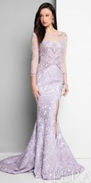 Terani Couture Beaded Illusion Floral Print High Slit Evening Dress