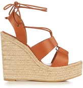 Saint Laurent Lace-up espadrille leather wedge sandals