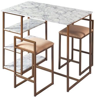 VERSANORA Marmo Breakfast Table Dining Set With Faux Marble Top