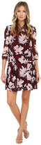 Donna Morgan 3/4 Sleeve Printed Chiffon Dress with Pleated Skirt