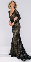 Jovani Long Sleeve Illusion Panel Sequin Evening Gown