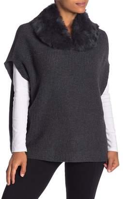 DOLCE CABO Genuine Rabbit Fur Collar Sweater Poncho