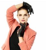 Suntasty Women's long section plus velvet warm winter leather gloves