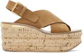 Chloé Tan Camille Wedge Sandals