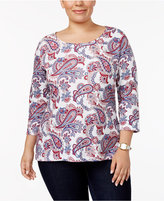 Charter Club Plus Size Cotton Printed Top, Created for Macy's