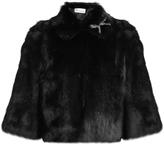 RED Valentino Bow-embellished rabbit-fur jacket