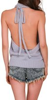 Berrygo Women's Sexy Turtleneck Sleeveless Backless Cable Knitted Sweater