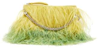 Jimmy Choo Callie Feather-trimmed Clutch - Womens - Yellow