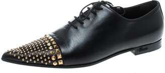Gucci Black Leather Studded Pointed Toe Loafers Size 37