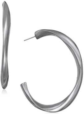 "Alfani Hematite-Tone Sculpted Open Medium Hoop Earrings, 2"", Created For Macy's"