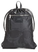 John Varvatos Men's Skull Print Cinch Sack - Black