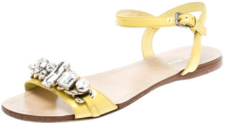Miu Miu Yellow Patent Leather Crystal Embellished Ankle Strap Flat Sandals Size 37