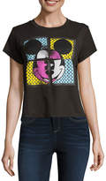 Mighty Fine Short Sleeve Mickey Mouse Graphic Boxy Tee- Juniors