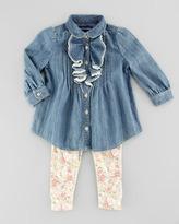 Ralph Lauren Denim Tunic & Floral-Print Leggings Set, Mayberry, 9-24 Months