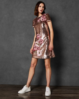 Ted Baker Embroidered Sequin Shift Dress