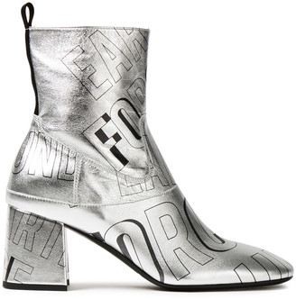 McQ Phuture Printed Metallic Leather Ankle Boots