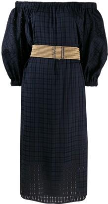 Brunello Cucinelli Off-The-Shoulder Check Midi Dress