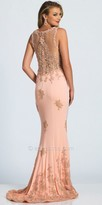 Dave and Johnny Cascading Applique Embellished Column Prom Dress