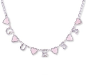 """GUESS Silver-Tone Pave & Heart Logo Collar Necklace, 16"""" + 2"""" extender"""