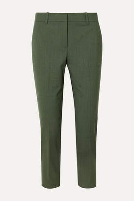 Theory Treeca 2 Wool-blend Tapered Pants - Green