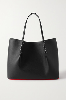 Christian Louboutin Cabarock Spiked Textured-leather Tote - Black
