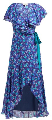 Beulah - Ratna Floral-print Chiffon Wrap Dress - Womens - Navy Multi