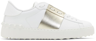 Valentino White and Gold Garavani Rockstud Open Sneakers