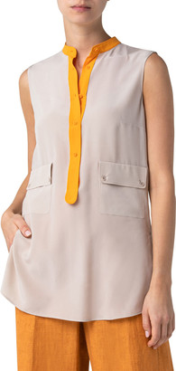 Akris Punto Contrast-Trim Sleeveless Blouse