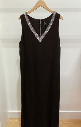 120% Lino Long Linen Dress With Sparkle - M