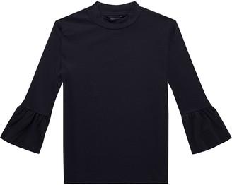 Scotch & Soda Maison Women's Clean Long Tee with Ruffle Sleeve T-Shirt