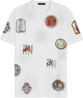 Versace White Badge-print Cotton T-shirt