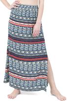 Blue & Red Geometric Side-Slit Maxi Skirt
