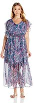 NY Collection Womens Plus Flutter Sleeves Maxi Casual Dress