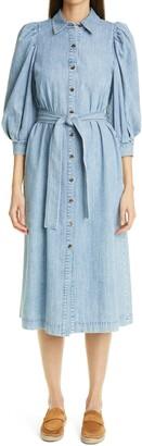 Lafayette 148 New York Mia Puff Sleeve Organic Cotton Shirtdress