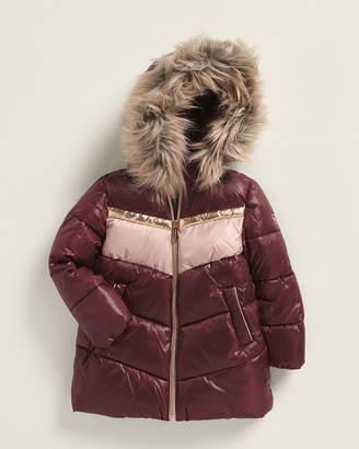MICHAEL Michael Kors Toddler Girls) Faux Fur-Trimmed Chevron Stadium Puffer Coat
