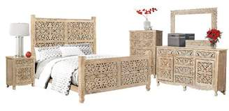 Bungalow Rose Buena Park Sleigh Solid Wood 2 Piece Bedroom Set Bed Size: King, Color: White
