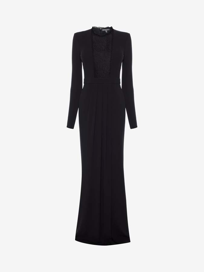 Alexander McQueen Lace Panel Evening Dress