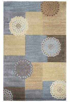 "Waveland Geometric Handmade Tufted Wool Beige/Blue Area Rug Red Barrel Studio Rug Size: Runner 2'6"" x 8'"
