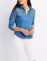 Charlotte Russe Embroidered Chambray Button-Up Shirt