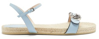 Gucci Aitana Leather And Jute Sandals - Light Blue
